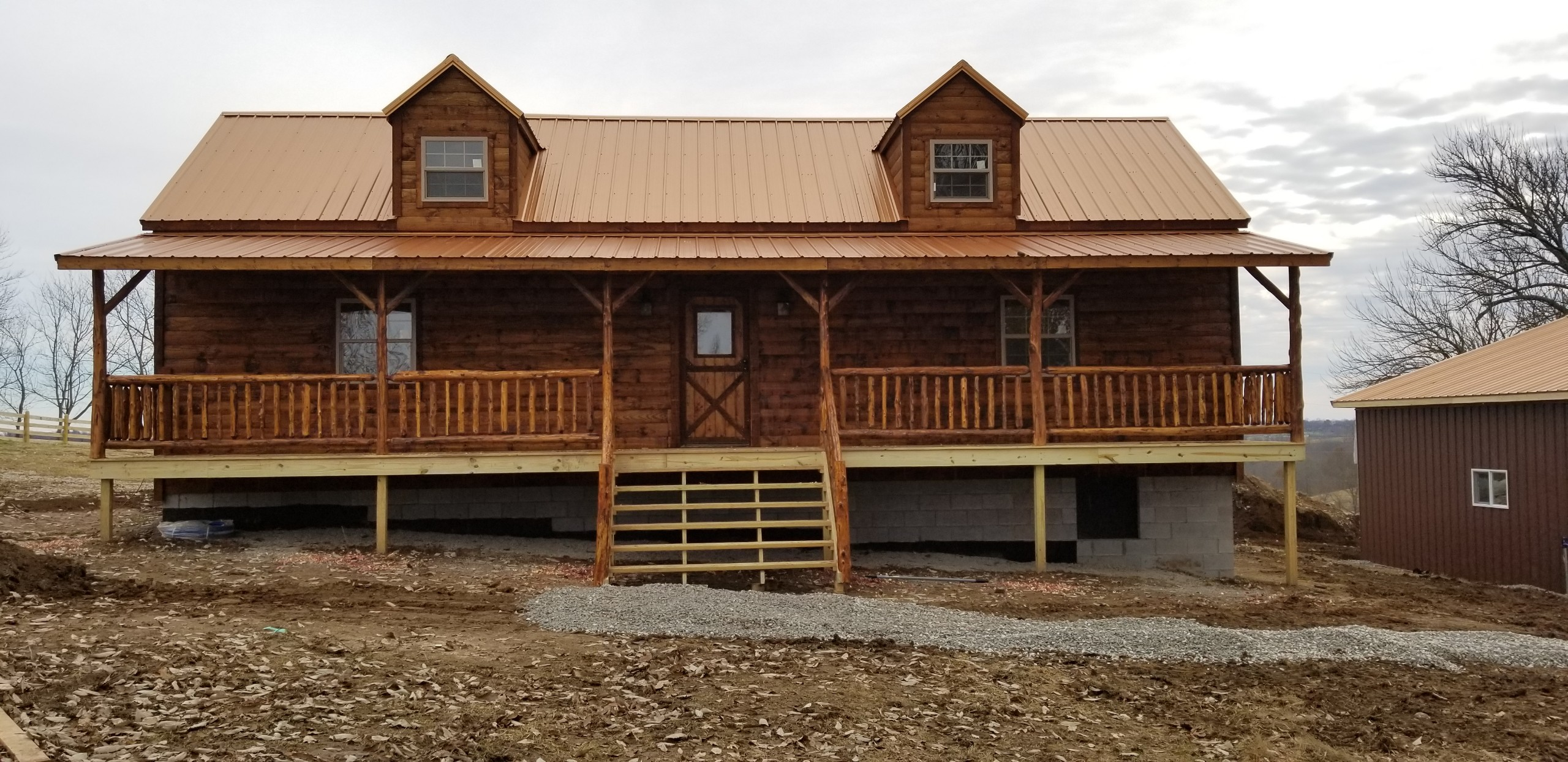 2 Story Frontier Cabin - front view